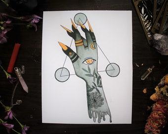 Inktober Witch Hand Black & Gold Ink Illustration- Art Print