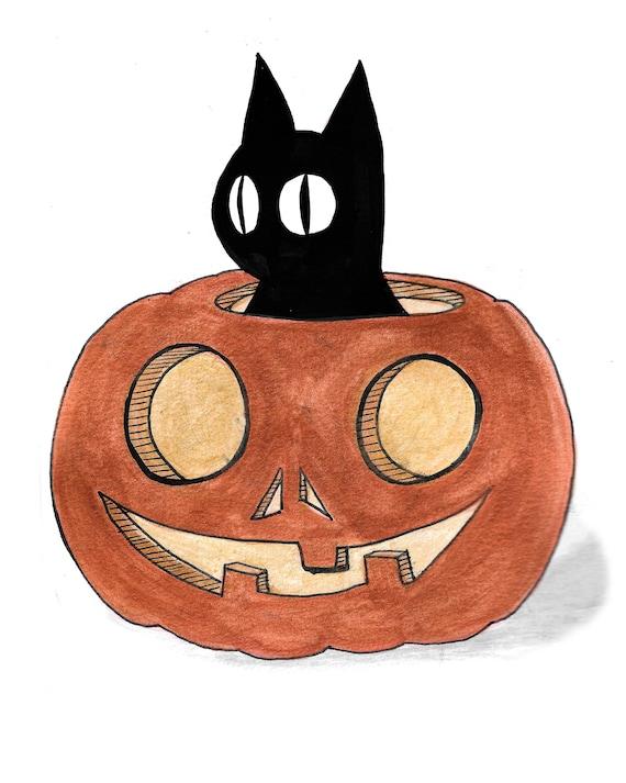Halloween Pumpkin Drawing.Halloween Pumpkin Black Cat Illustration Inktober Drawing