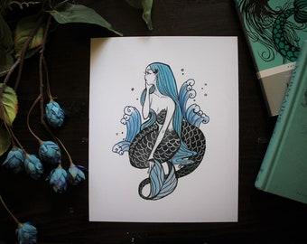 Inktober Day 30 Mermaid- Art Print