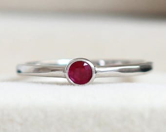 Natural Ruby Stackable Ring - Tiny Ruby Ring, Ruby Ring Silver, Ruby Ring White Gold, Yellow Gold Ruby Ring, July Birthstine Ring