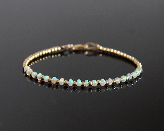 Opaal Kralen Armband Goud Opal Armband Opalite Armband Etsy