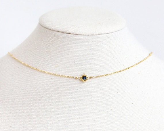be0542b4a670a Sapphire Choker Necklace - Natural Sapphire Jewelry, Sapphire Necklace  Vintage, Sterling Silver Choker, September Birthstone Choker