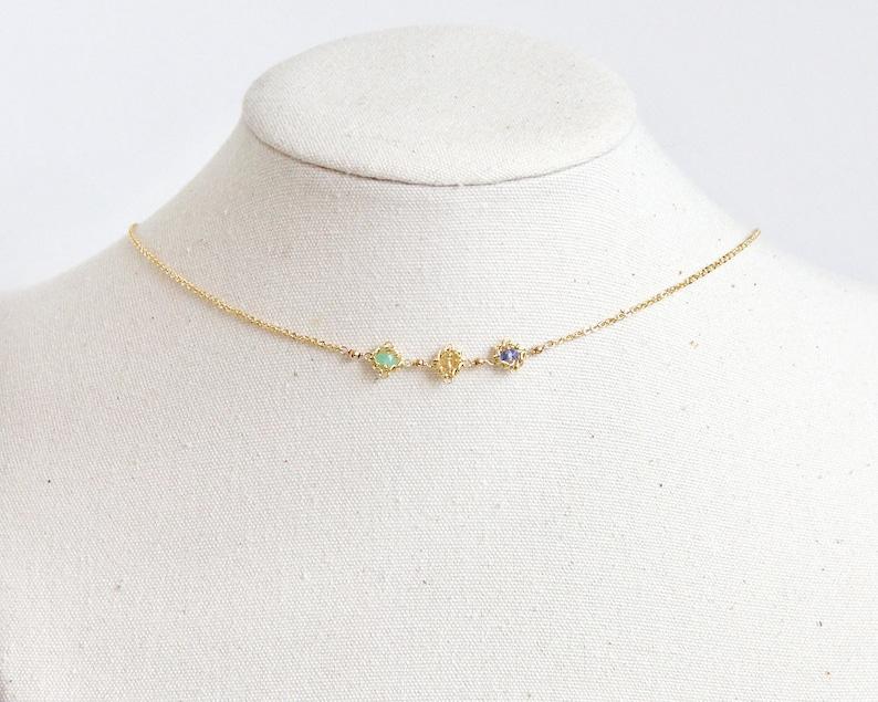 b66020fa9d21c Three Birthstone Necklace - Birthstone Choker Necklace, Birthstone  Necklace, Multi Birthstone Necklace, Multi Gemstone Necklace