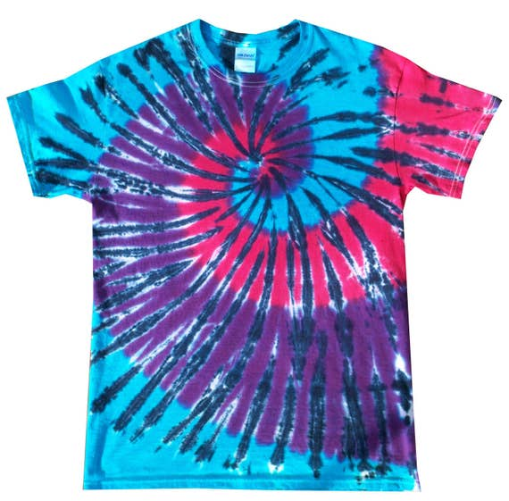 T Shirt Tie Dye Blue and Black  scrunch All Sizes hand crafted in the UK