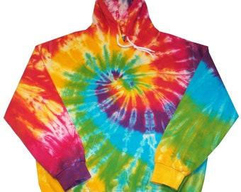 Tie Dye Hooded Sweat Shirt Rainbow