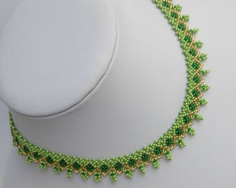 Beaded woven necklace for women necklace gift for wife necklace beaded collar Green necklace Small beaded necklace women's gift jewelry