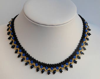 Blue necklace for women necklace gift for wife necklace collar Blue necklace Small beaded necklace Short necklace women's gift jewelry