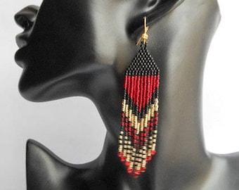 Gift for her on Valentine's Day Long dangle earrings Fringe beads earrings boho earrings jewelry earrings Extra long red beaded earrings