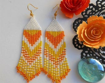 Dangle earrings Bridesmaid earrings Orange earrings Beaded earrings Bead earrings long earrings Seed bead earrings Simple earrings for her