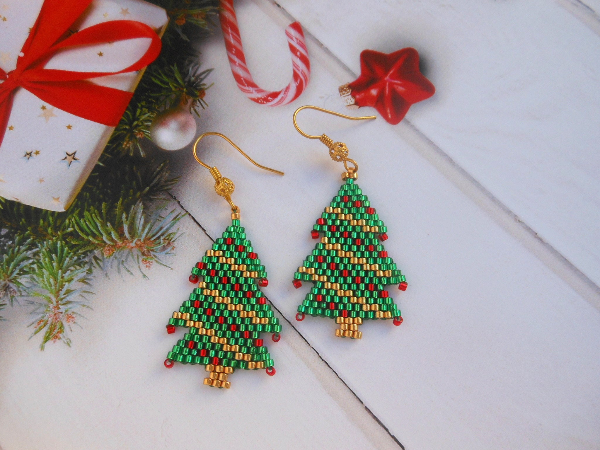 Christmas tree earrings Christmas earrings Winter earrings
