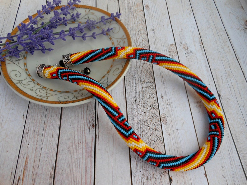 Native america indian jewelry Necklace for women Crochet Beaded necklace Tribal Necklace Necklace Beaded jewelry set gift