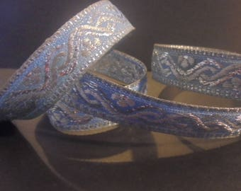 Ribbon sari border 1 meter blue cottonsilver embroideries 19 mm India decoration creations sewing