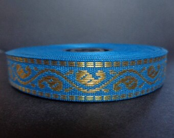 Ribbon sari border 1 meter blue cotton gold embroideries 15 mm India
