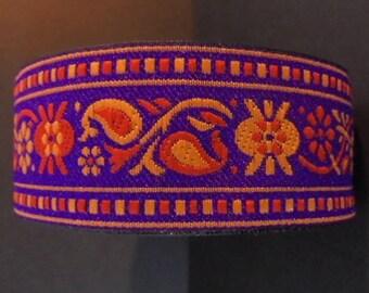 Ribbon Sari border 1 meter purple cotton 30 mm yellow and orange embroideries India