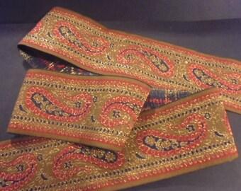 Ribbon Sari Border 1 meter brown cotton 50 mm gold embroideries India