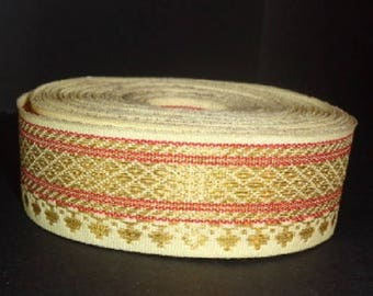 Ribbon sari border beige cotton gold embroideries 27 mm India