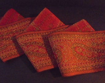 Ribbon Sari Border 1 meter orange cotton gold embroideries 50 mm India