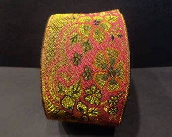 Beautiful Ribbon sari border 1 meter pink cotton 50 mm gold embroideries India
