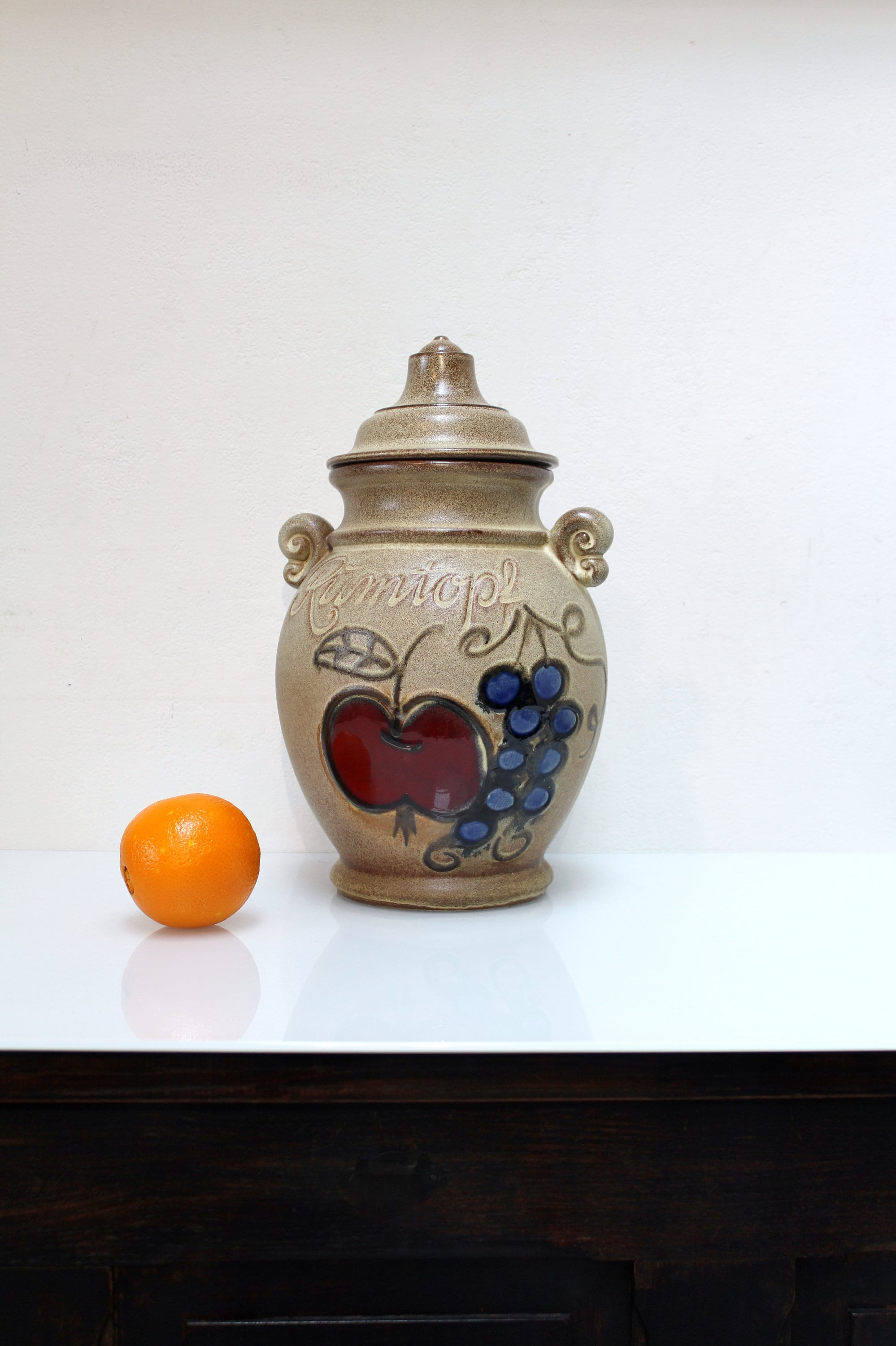 Storage 70's Rumtopf Century ModernRetro Vintage With By Jar KeramikWest Art LidMid Germany 36 826 Scheurich Kitchen PotteryCeramic A34R5jL