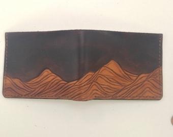 Mountain Bifold Wallet - Brown Leather Bifold Wallet