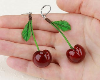 Red Cherries Earrings Cherry jewelry Berry earrings Red cherry drop earrings Cherry style Cherries berry Cherry gift Red berry earrings gift