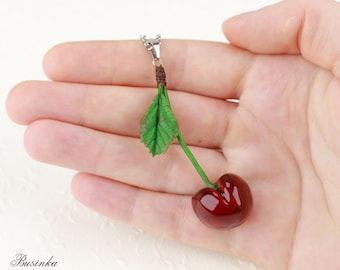 Red Cherry Necklace Cherry jewelry Romantic berry Red cherry pendant Cherry style Cherries necklace Cherries berry Green leaf cherry gift