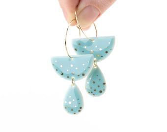 Baby blue porcelain Abstract jewelry Blue dangle earrings Turquise Modern earrings woman gift Boho earrings Half circle Sustainable vegan