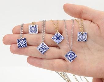 Azulejo porcelain tile pendant unique gift Blue porcelain necklace Cobalt blue Boho necklace wedding blue jewelry Bridesmaid pendant Morocco