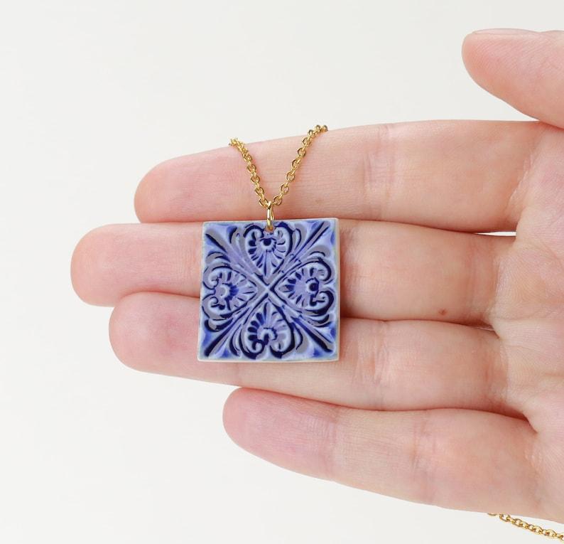 Porcelain tile pendant unique gift Blue porcelain necklace sky blue Hippie accessories boho wedding something blue jewelry Pottery pendant
