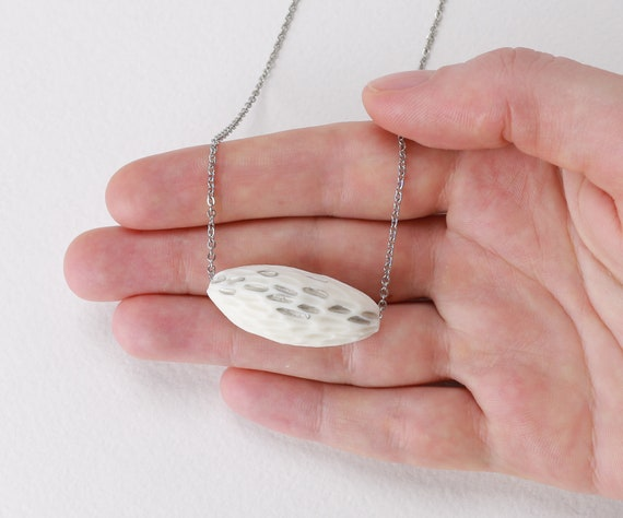 Oval White Hi-Fire Tile with Mandala Design Fired on Ceramic Jewelry Tile Pendant Necklace