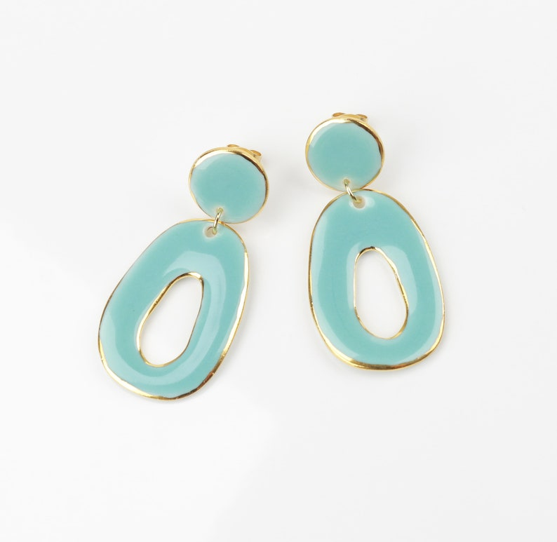 Baby blue porcelain earrings Ceramic Oval turquoise earrings Gold circle studs Abstract jewelry unique gift for Women Wedding Gold earrings