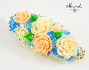 Cream Roses Hair Clip -  hair french clip - romantic jewelry - polymer clay flowers - honey berrete - french barrette