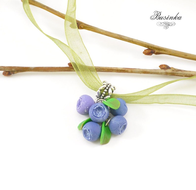 forest necklace blueberry earrings Berry jewelry Blueberry Necklace wood berry blueberry jewelry blue jewelry