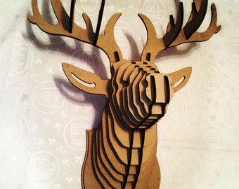 Deer Head 3D Puzzle Animal Cardboard MDF Wood Sculpture Wall Decor Hunting Trophy Stag