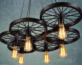 Farmhouse chandelier etsy 6 wheels pendant light industrial light for bar pendant lighting retro light fixture rustic lighting farmhouse chandelier living room light aloadofball Images