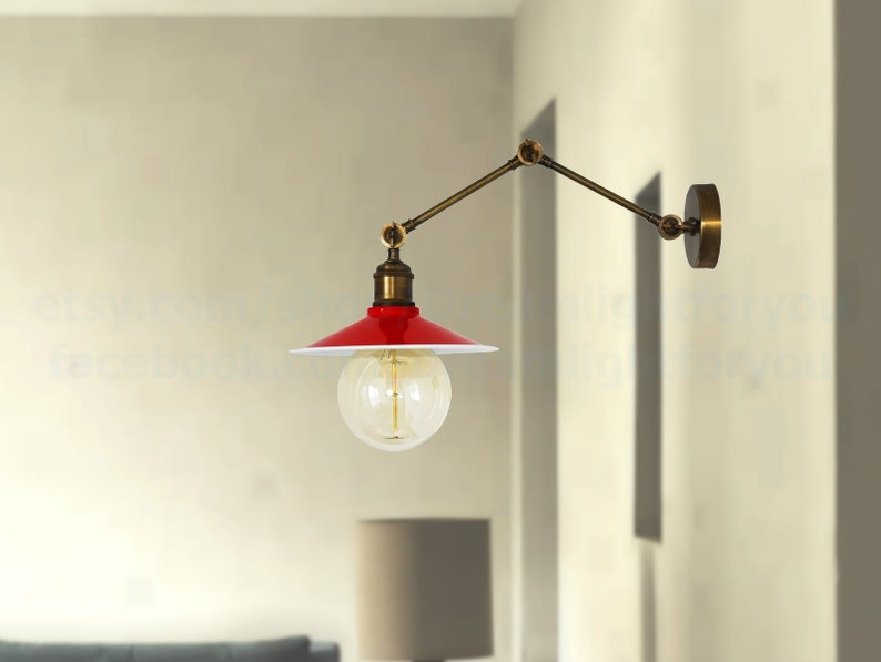 Red Wall sconce Brass swing arm lights hall Wall lights vintage copper Corridor Wall Sconce Vintage wall lights Hallway Retro sconce light