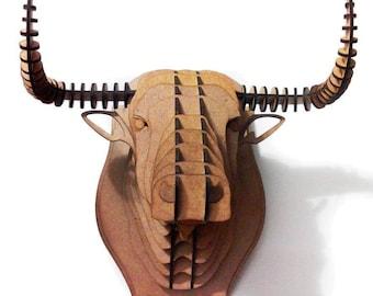 Wooden Bull Head Cardboard Animal head Toros head 3D Puzzle Animal head MDF Buffalo head Hunting trophy Toro de lidia Men cave Fighting Bull