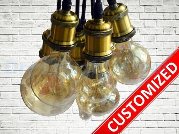 Kronleuchter Textilkabel ~ Anhänger licht kronleuchter 3 12 cluster farben textil kabel etsy