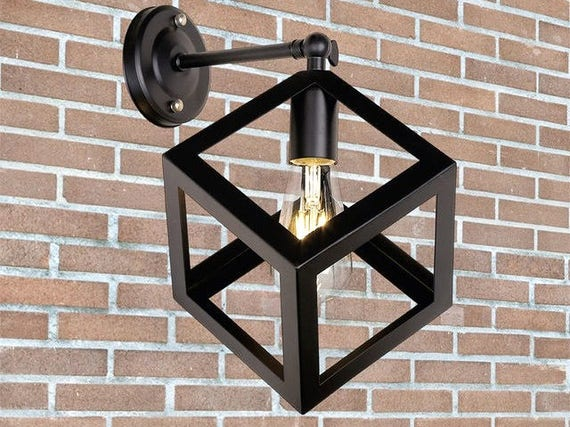 size 40 2f3dd 53400 Industrial wall sconce Cube wall light Iron wall sconce Retro Light fixture  Vintage Industrial lighting Downside wall light industrial light