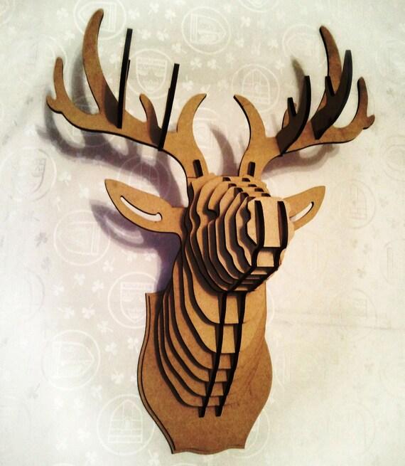 Big Deer Head Cardboard Animal 3D Puzzle MDF