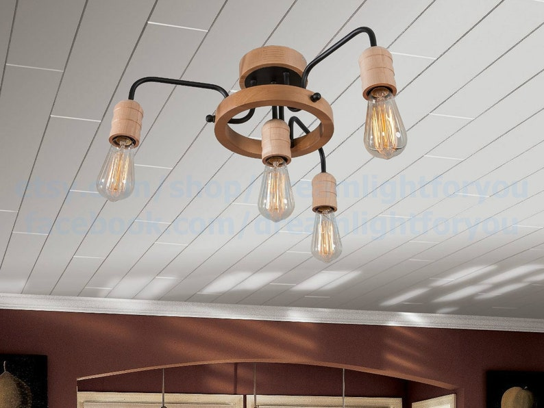Wooden farmhouse chandelier Dining light Ceiling light Kitchen island Chandelier pendant lighting Rustic Pendant light Kitchen lighting