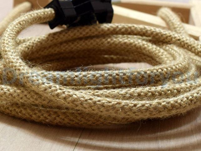 Aus 3ft Jute Textilkabel Tuch Schnur Stoff bedeckt Draht 2x0.5 | Etsy