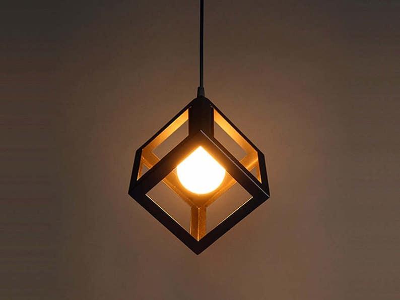 Elegante Appeso Luce Lampadario Cubo In Ciondolo FerroEtsy 34jqLAR5cS