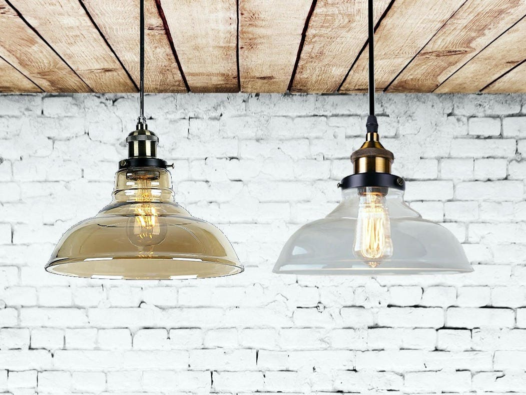 Glass Pendant Light Clean And Amber Pendant Lighting Dinning Etsy