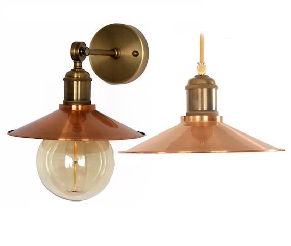 Handmade Copper Pendant Light & Copper Sconce Industrial