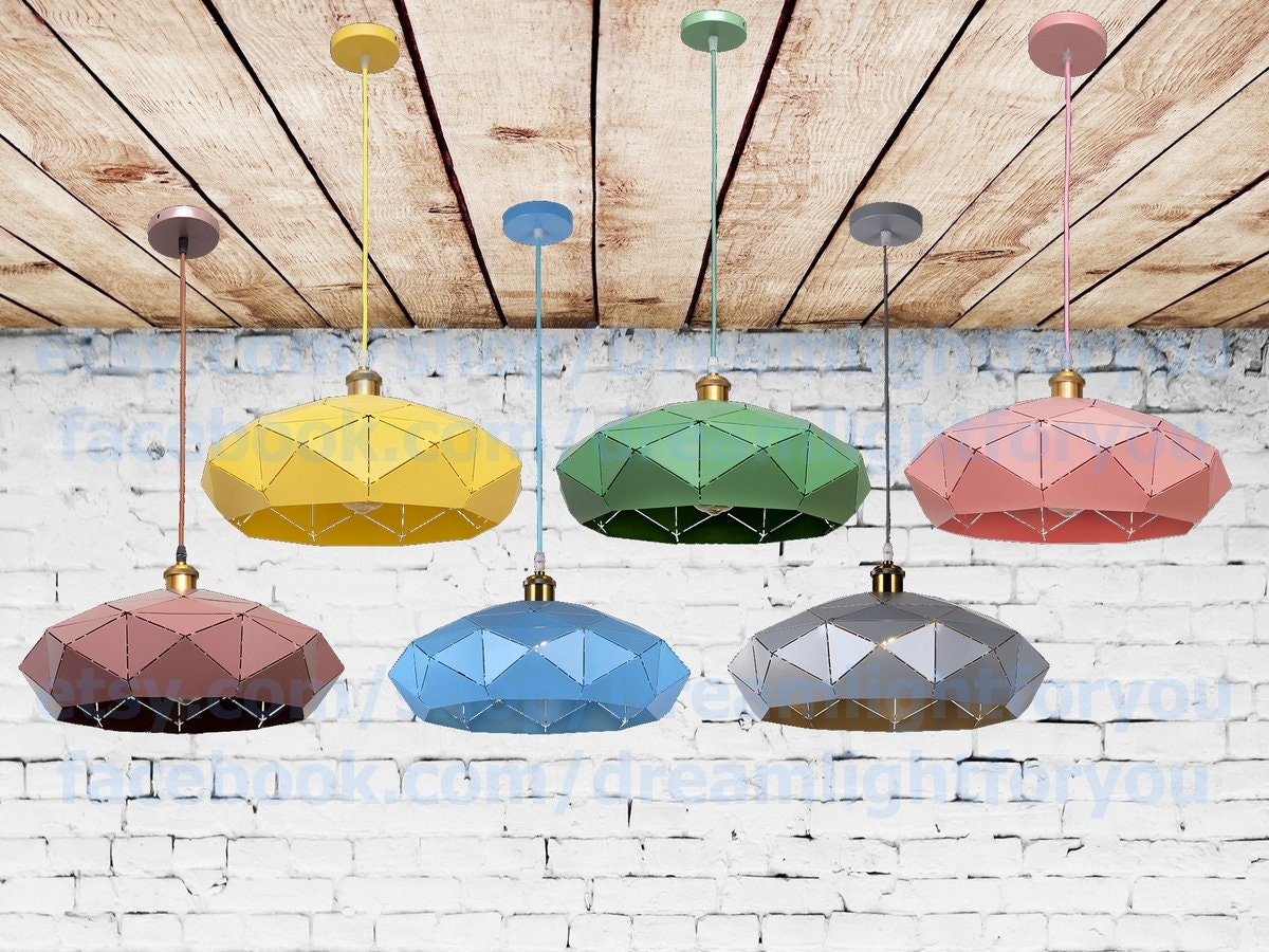 Farbige Polygon Anhänger Beleuchtung moderne Küche | Etsy