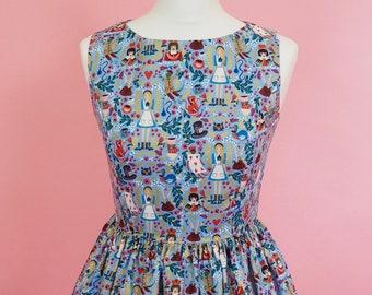 Wonderland Dress - Made To Order Alice In Wonderland Picnic Dress (Periwinkle Blue) - Vintage Style Dress - Fit & Flare Dress - Rifle Paper