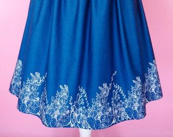 Cactus Border Dress - Made To Order Cactus Border Print Riviera Sundae Dress (Navy) - Vintage Style Dress - Fit & Flare Dress