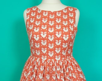 Coral Foxes Dress - Made To Order Fox Print Picnic Dress (Coral) - Vintage Style Dress - Fit & Flare Dress