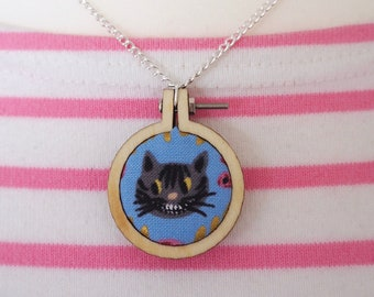 Cheshire Cat Mini Embroidery Hoop Necklace - Alice in Wonderland Necklace